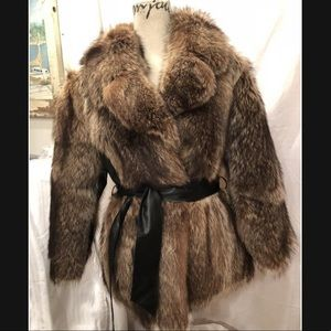 Saga Furs Brown Sporty Raccoon Jacket Pelts